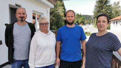 Power-Quartett in der Klamm 80B: Simone und Thomas Leitner und Claudia und Michael Kogler (© Barbara Egger)